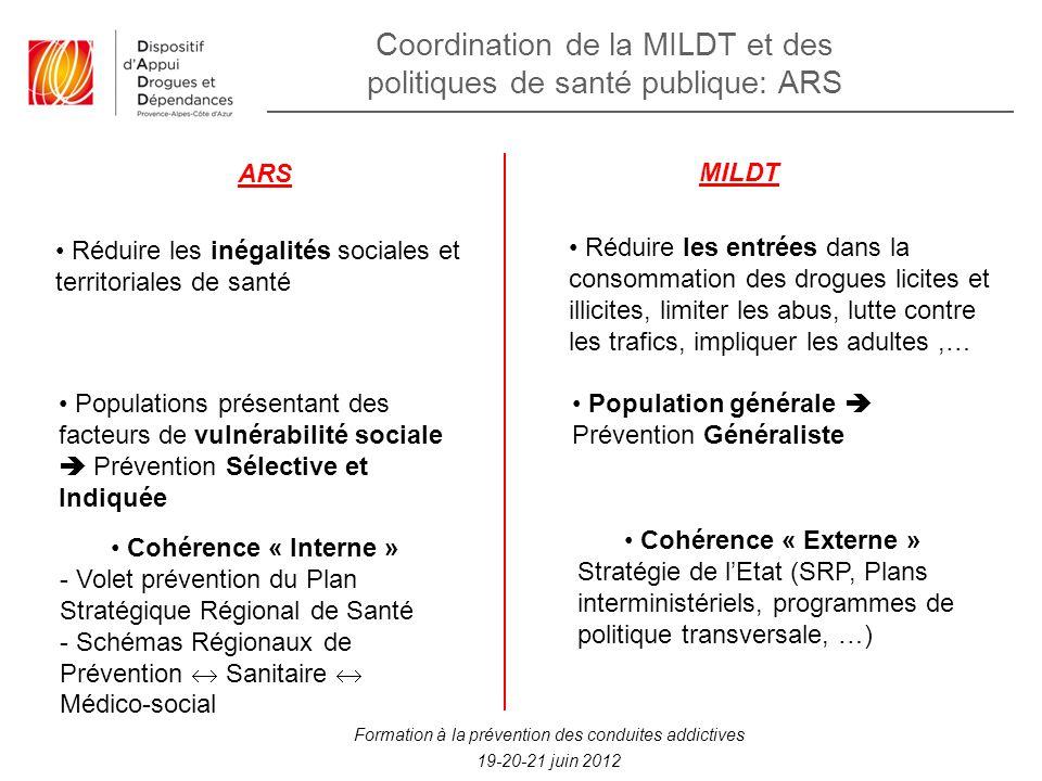 Coordination de la MILDT et des politiques de santé publique: ARS