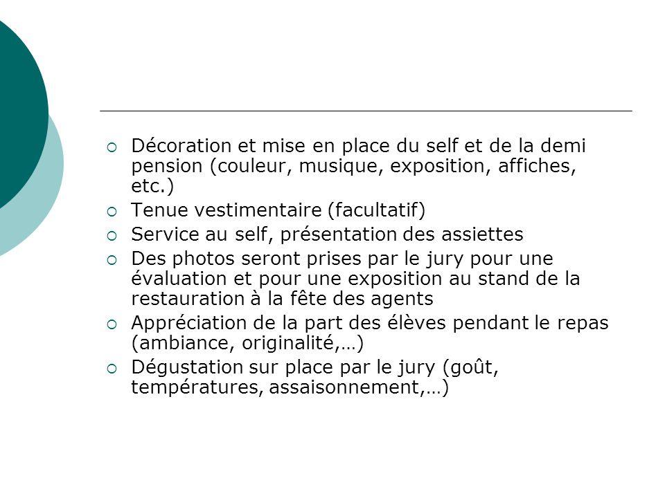 Décoration et mise en place du self et de la demi pension (couleur, musique, exposition, affiches, etc.)