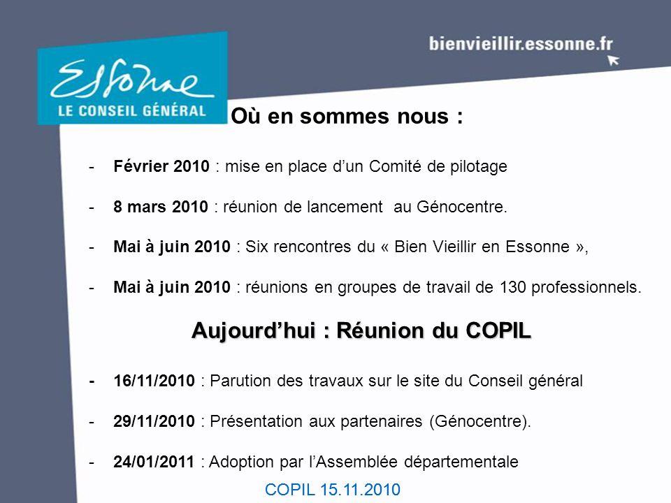 Où en sommes nous : - Février 2010 : mise en place d'un Comité de pilotage. - 8 mars 2010 : réunion de lancement au Génocentre.