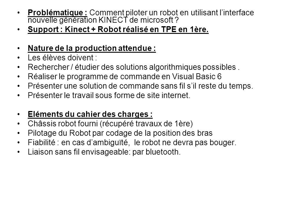 Problématique : Comment piloter un robot en utilisant l'interface nouvelle génération KINECT de microsoft