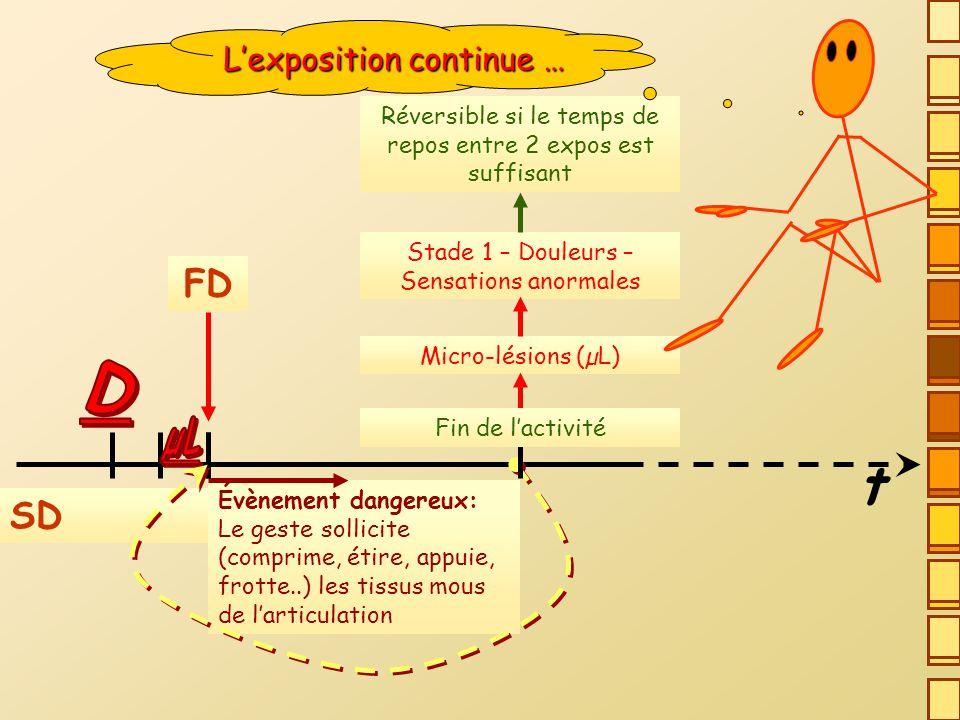 t D FD SD L'exposition continue … µL