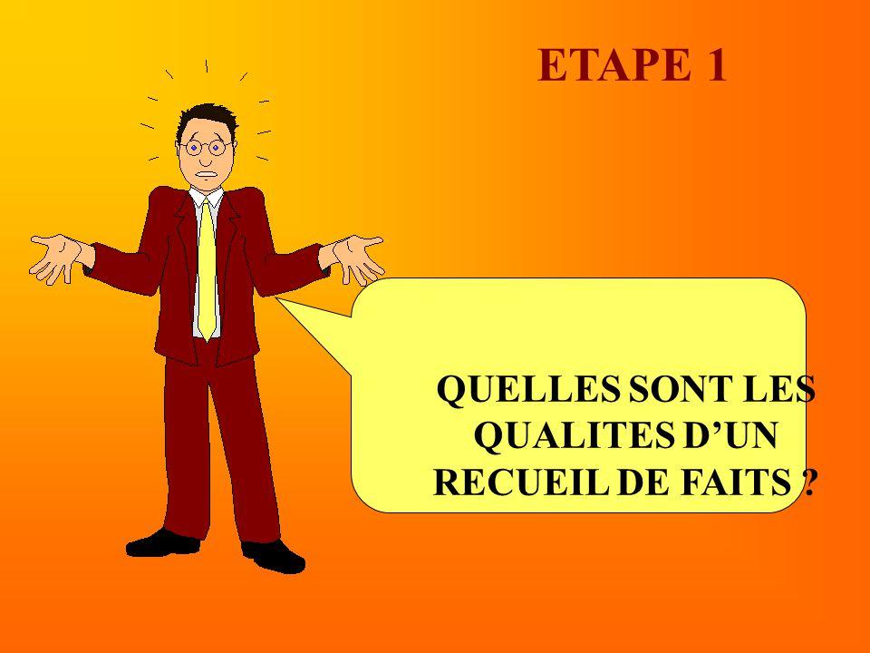ETAPE 1 QUELLES SONT LES QUALITES D'UN RECUEIL DE FAITS