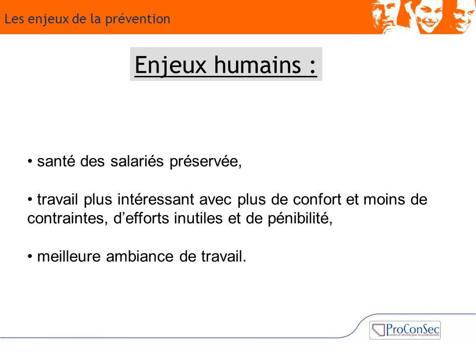 Enjeux humains : • santé des salariés préservée,