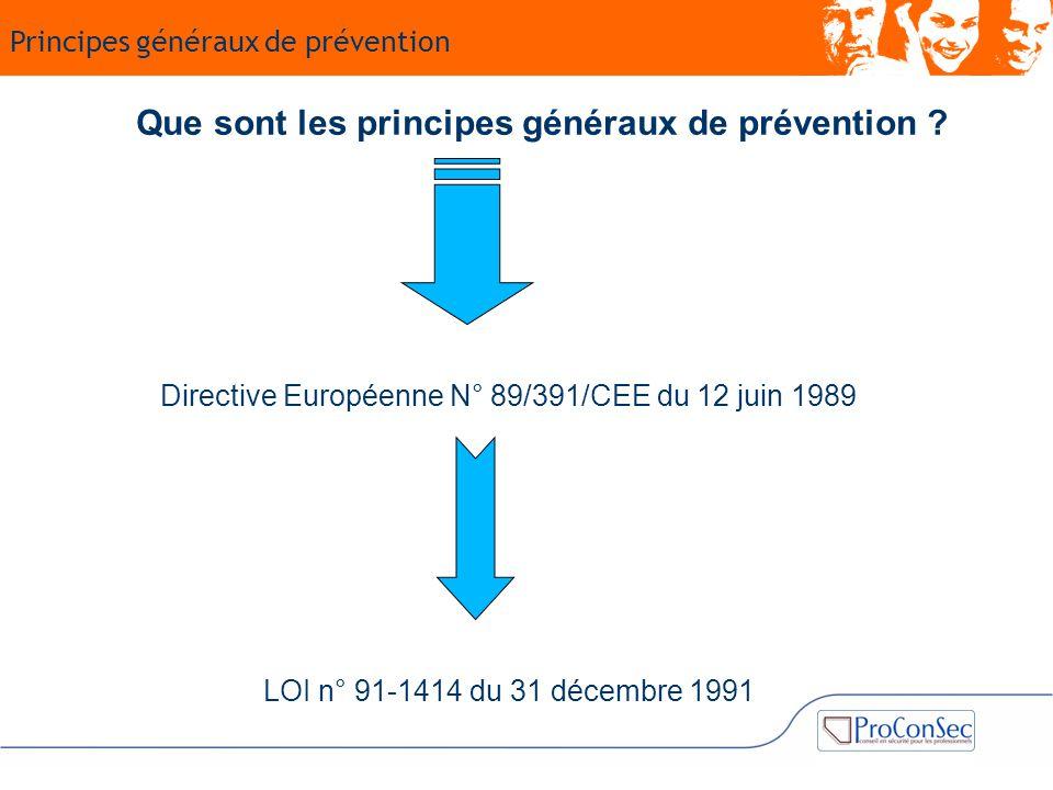 Que sont les principes généraux de prévention