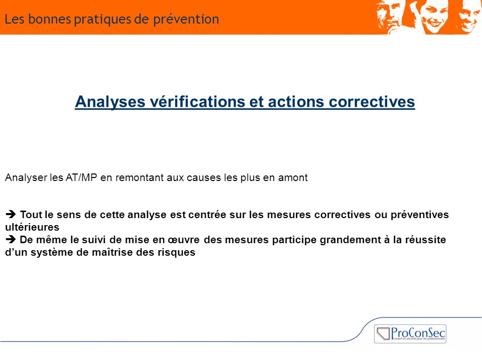 Analyses vérifications et actions correctives