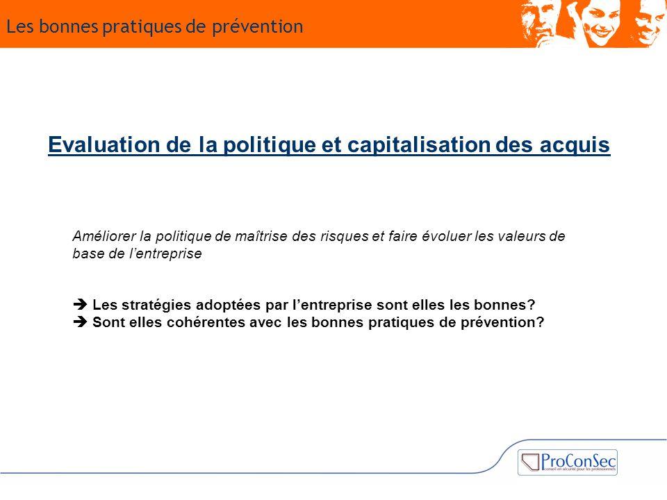 Evaluation de la politique et capitalisation des acquis