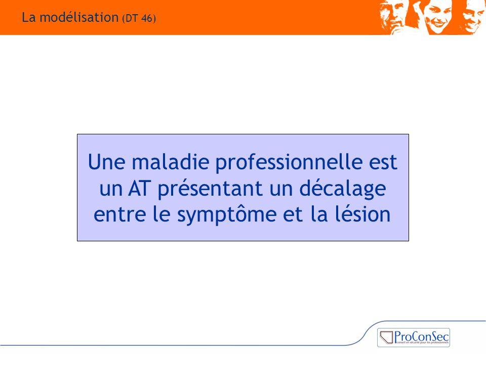 La modélisation (DT 46) Une maladie professionnelle est un AT présentant un décalage entre le symptôme et la lésion.