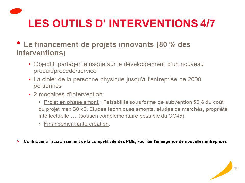 LES OUTILS D' INTERVENTIONS 4/7 (suite)