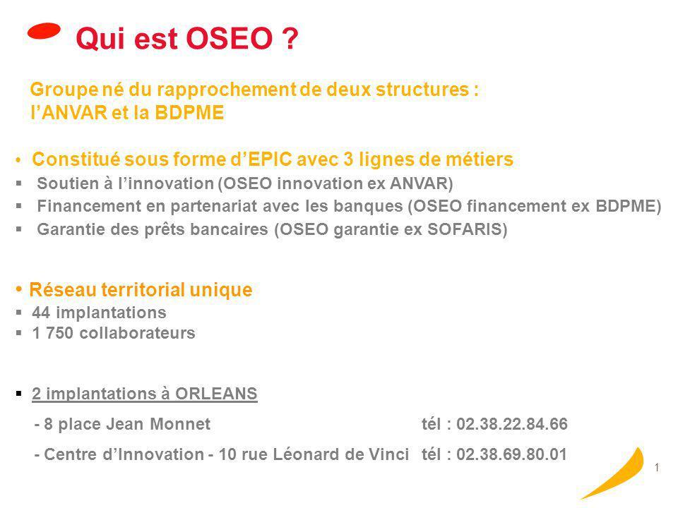 Les missions d'OSEO Donner l'envie d'entreprendre.