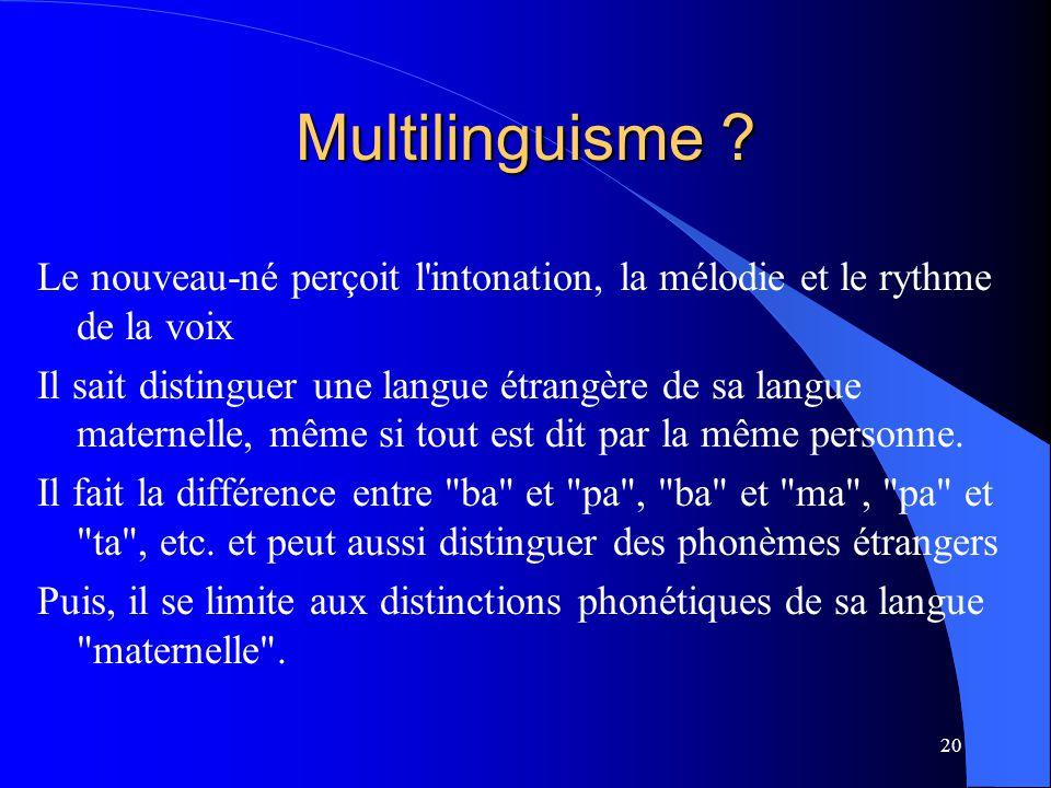 Multilinguisme Le nouveau-né perçoit l intonation, la mélodie et le rythme de la voix.