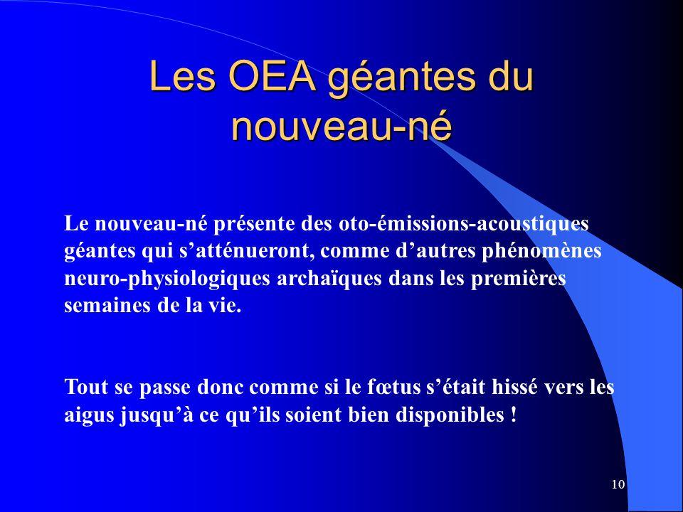Les OEA géantes du nouveau-né