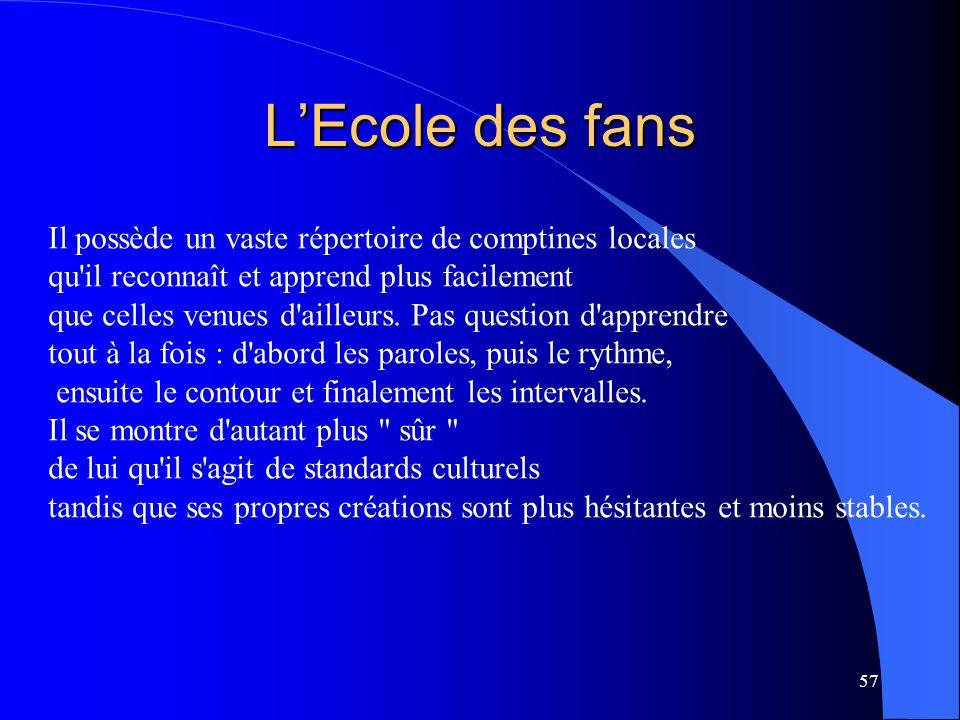 L'Ecole des fans Il possède un vaste répertoire de comptines locales