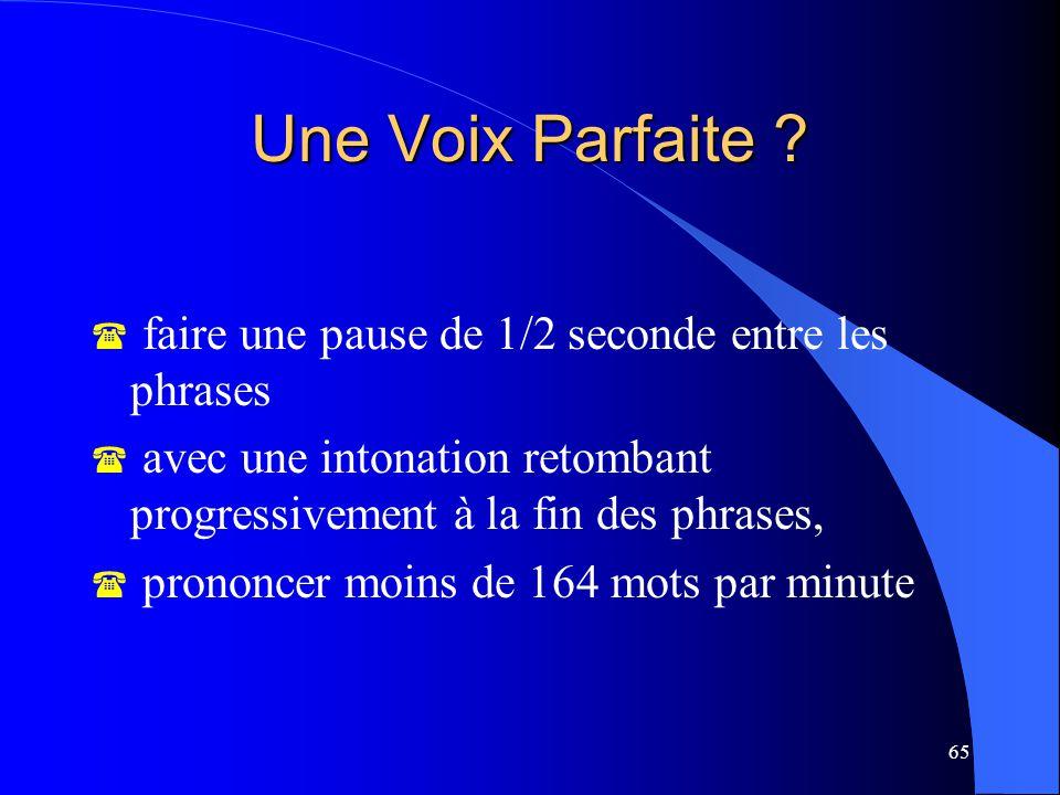 Une Voix Parfaite faire une pause de 1/2 seconde entre les phrases