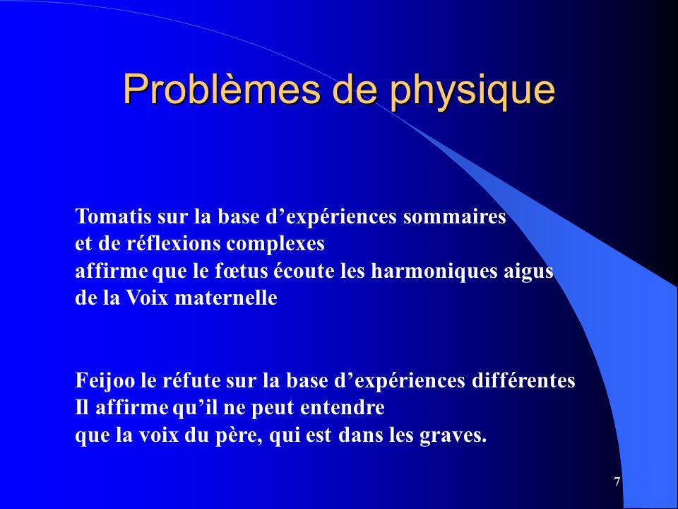 Problèmes de physique Tomatis sur la base d'expériences sommaires