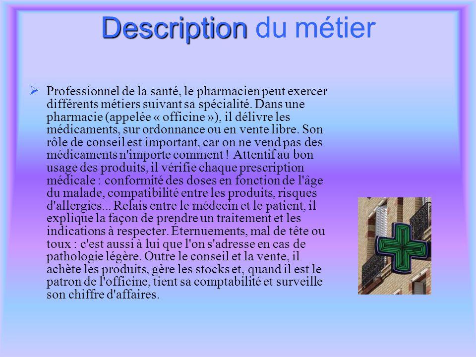 pharmacien fiche metier description du m tier conditions de travail ppt t l charger. Black Bedroom Furniture Sets. Home Design Ideas