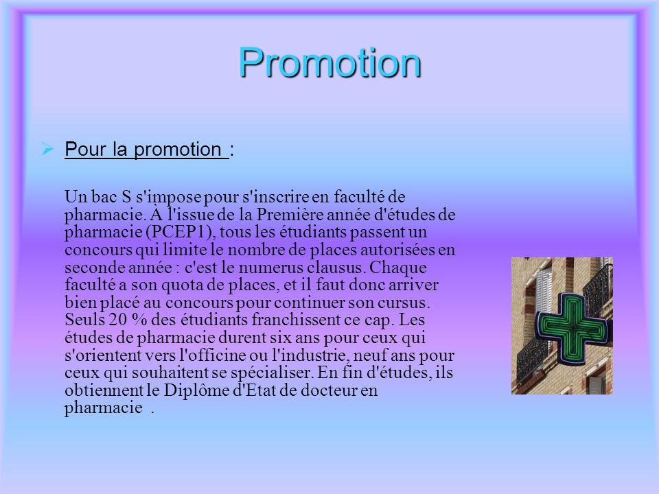 Promotion Pour la promotion :