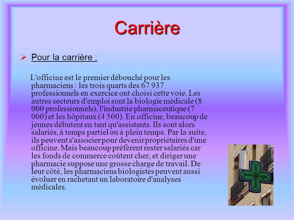 Carrière Pour la carrière :