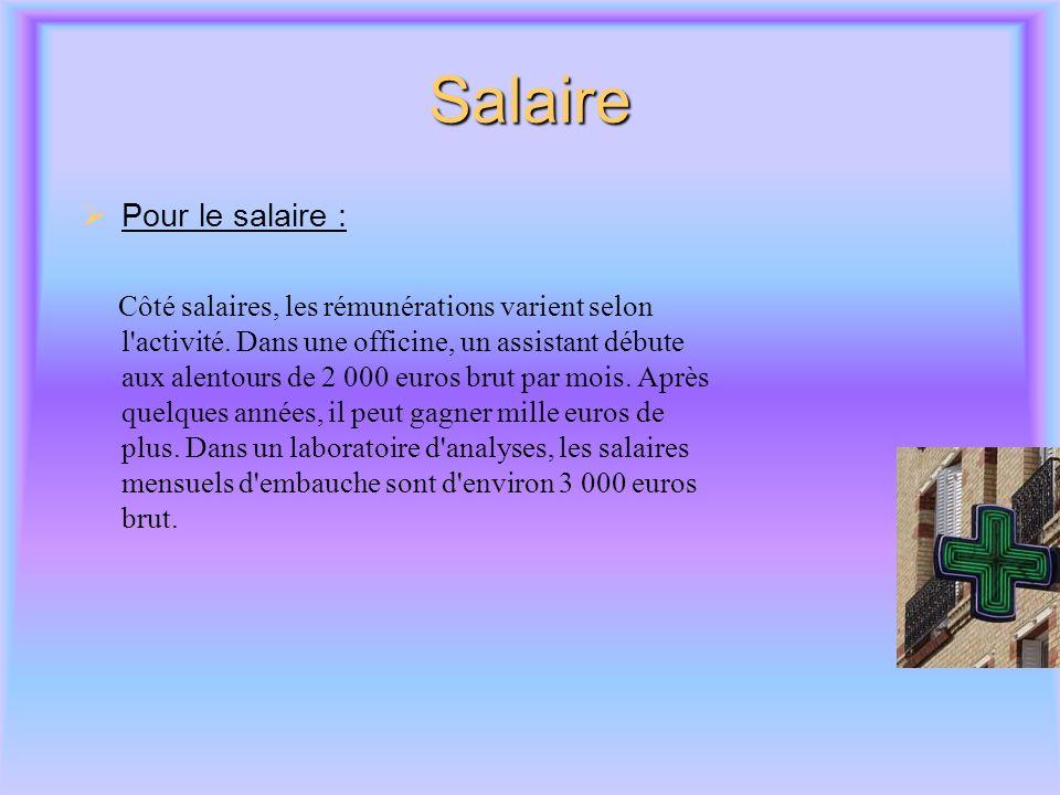 Salaire Pour le salaire :