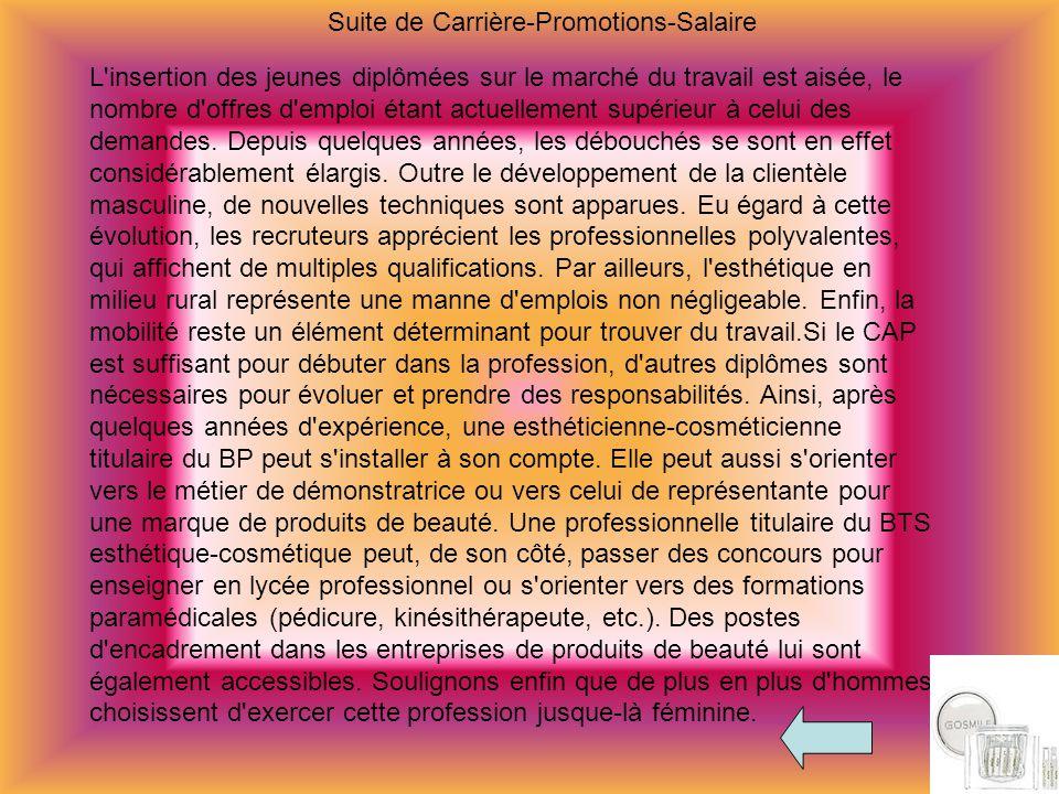 Suite de Carrière-Promotions-Salaire