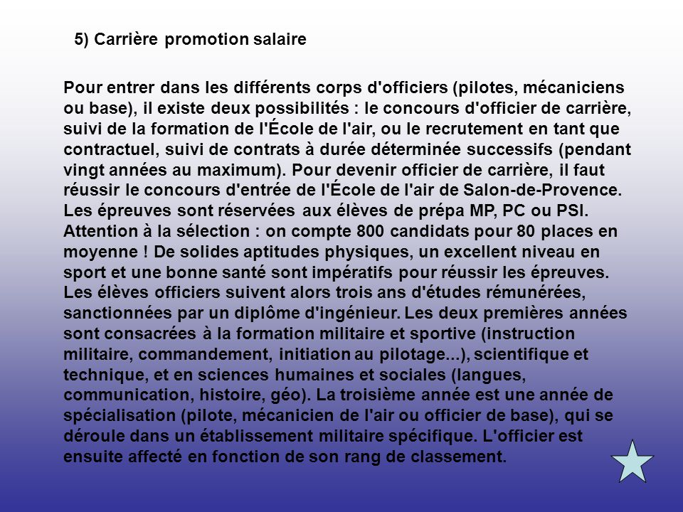 5) Carrière promotion salaire