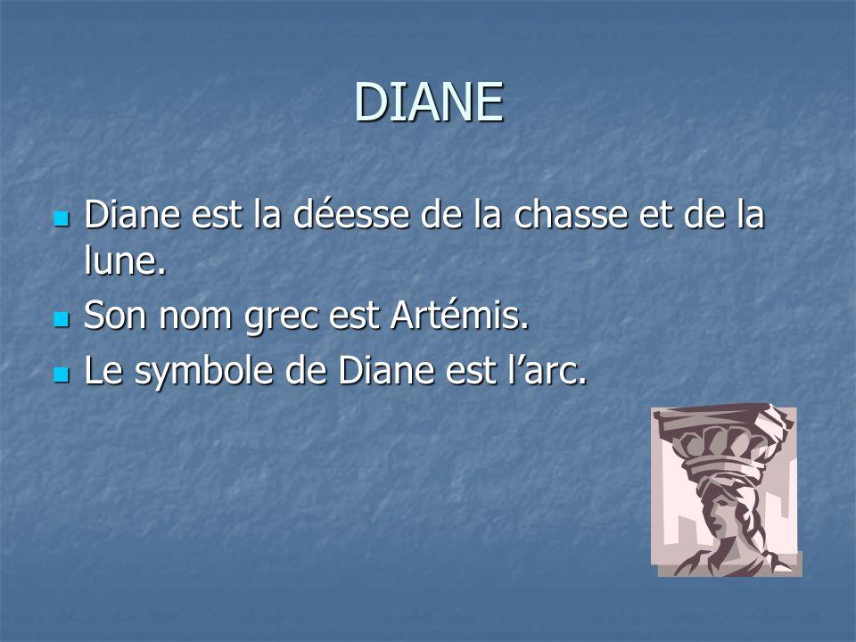 DIANE Diane est la déesse de la chasse et de la lune.