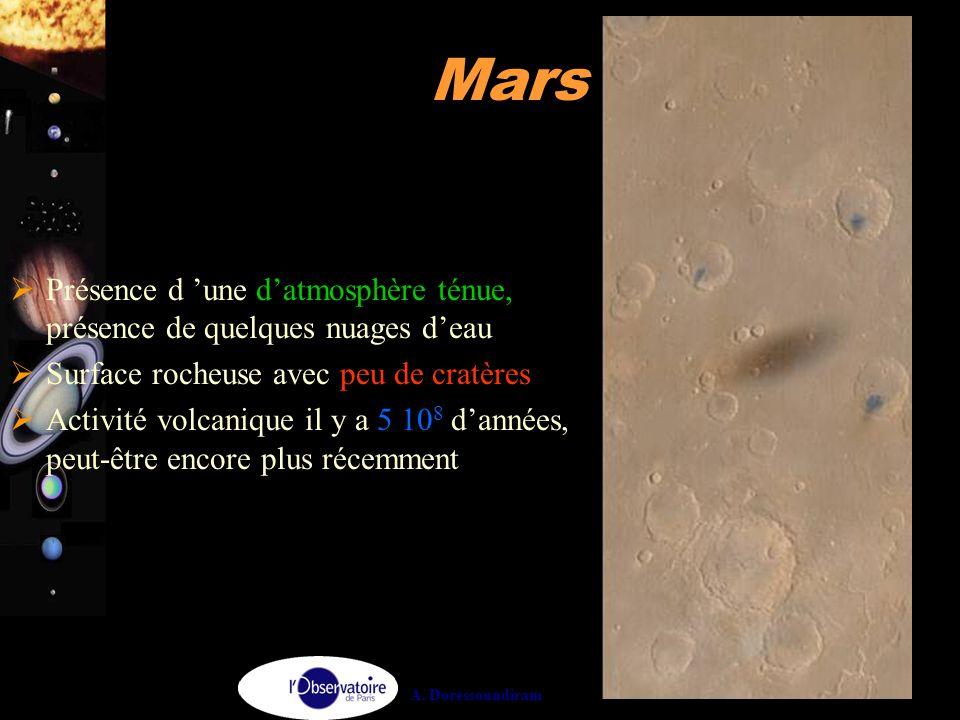 Comme Vénus, l'atmosphère de Mars est composée de CO2, mais est beaucoup moins dense que celle de Vénus. On a une pression si faible (100 fois plus faible que sur Terre) que votre corps enflerait si vous vous teniez à la surface de Mars, sans une combinaison spatiale. En fait température et pression sont incompatibles avec de l'eau liquide. Le fait de voir des lits asséchés sur Mars nous enseignent que l'atmosphère a donc du être différente dans le passé.