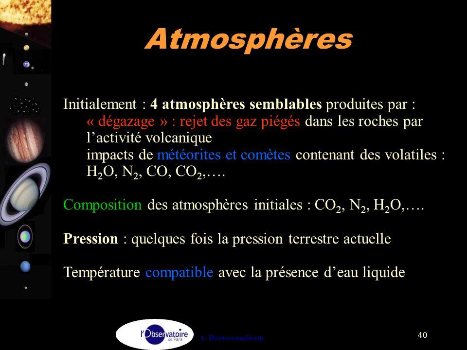 Atmosphères Initialement : 4 atmosphères semblables produites par :
