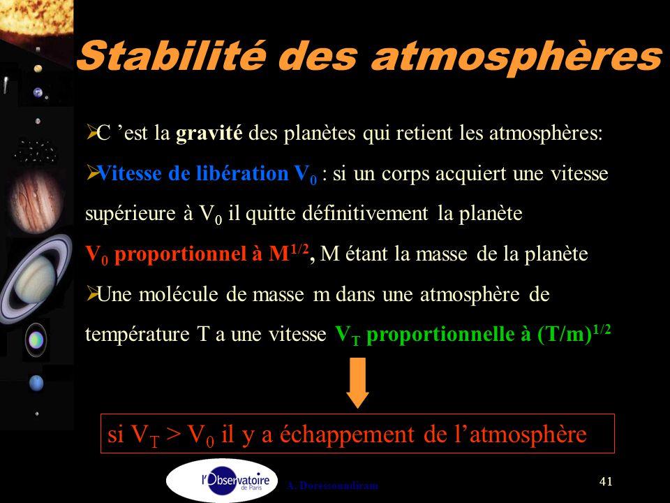 Stabilité des atmosphères