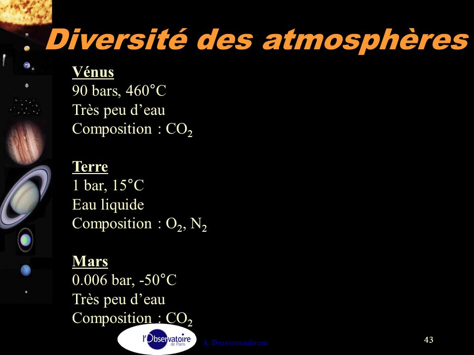 Diversité des atmosphères
