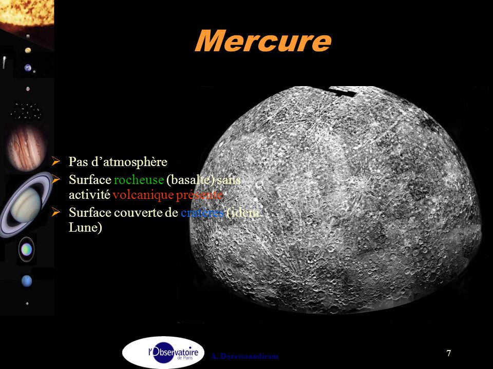 Mercure Pas d'atmosphère