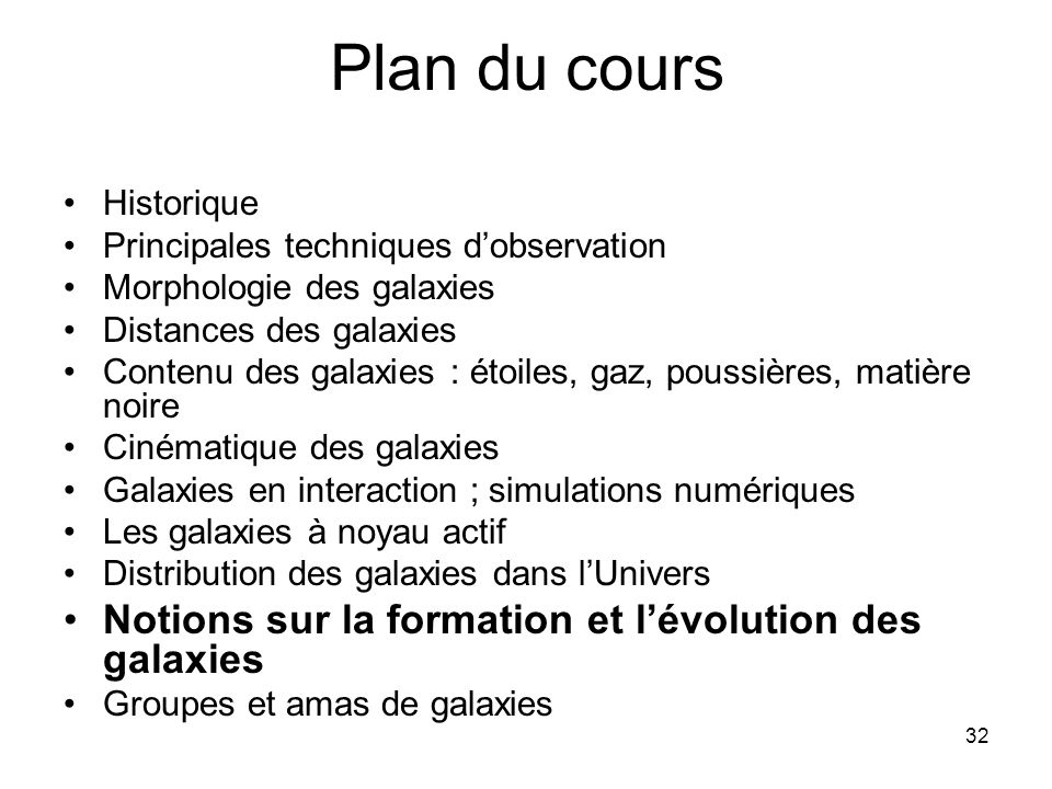 Plan du cours Notions sur la formation et l'évolution des galaxies