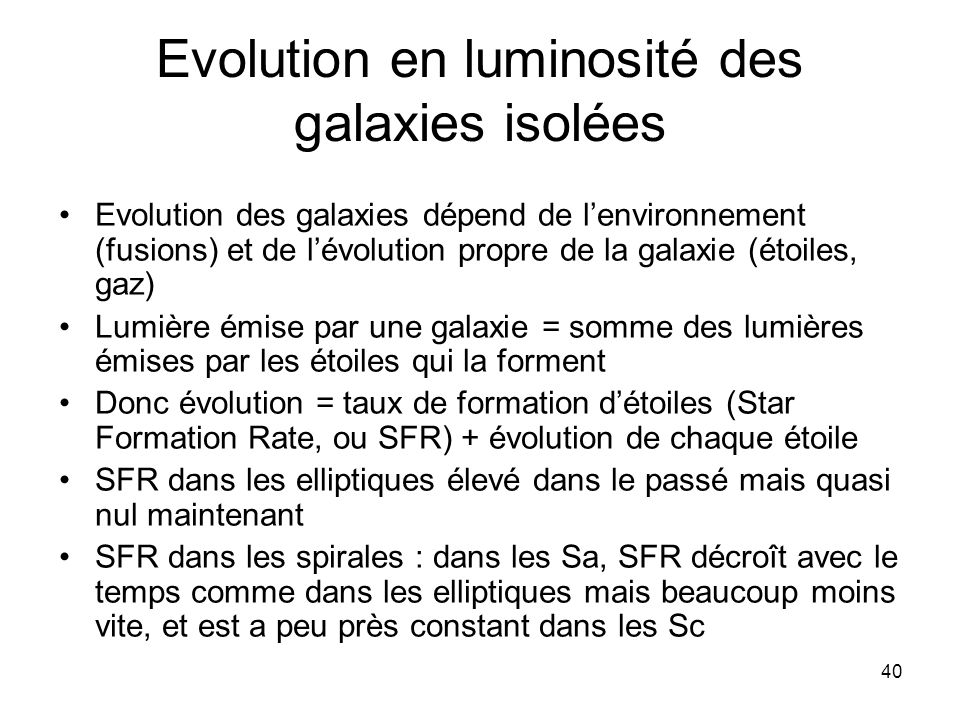 Evolution en luminosité des galaxies isolées