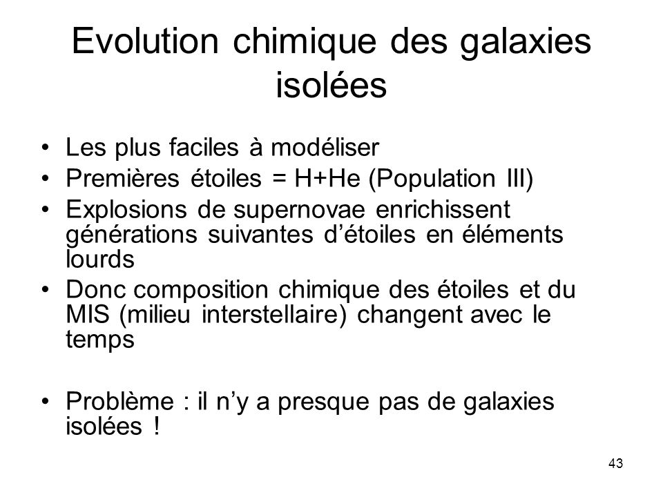 Evolution chimique des galaxies isolées