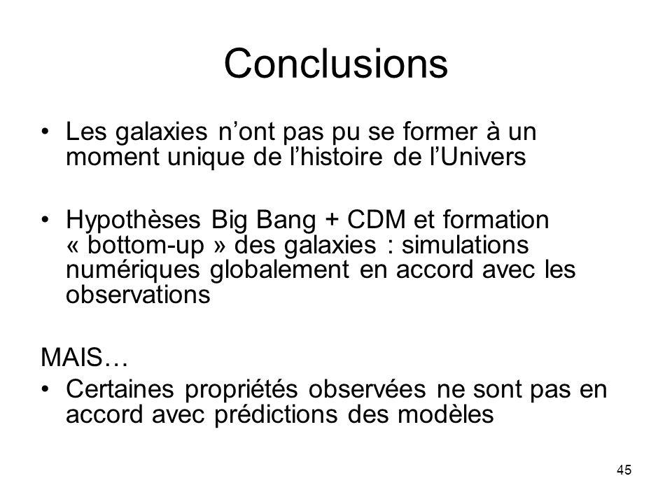 Conclusions Les galaxies n'ont pas pu se former à un moment unique de l'histoire de l'Univers.