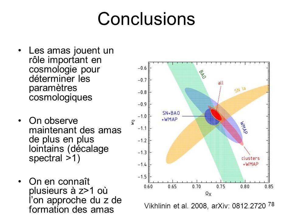 Conclusions Les amas jouent un rôle important en cosmologie pour déterminer les paramètres cosmologiques.