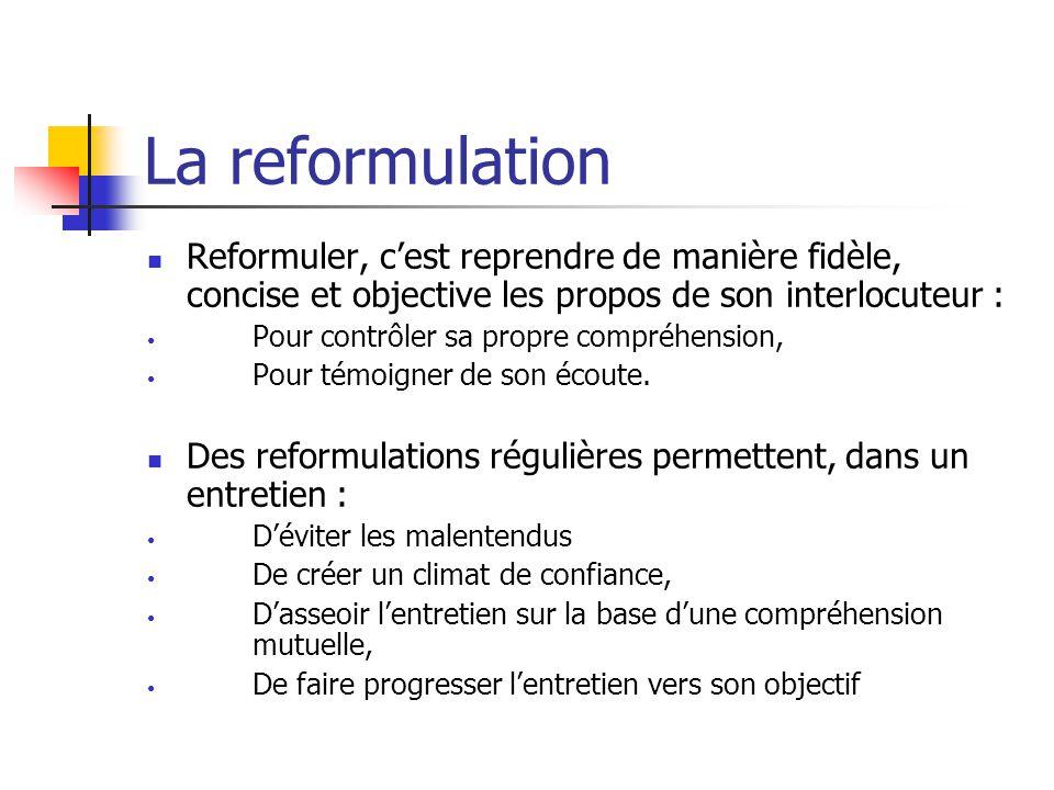 La reformulation Reformuler, c'est reprendre de manière fidèle, concise et objective les propos de son interlocuteur :