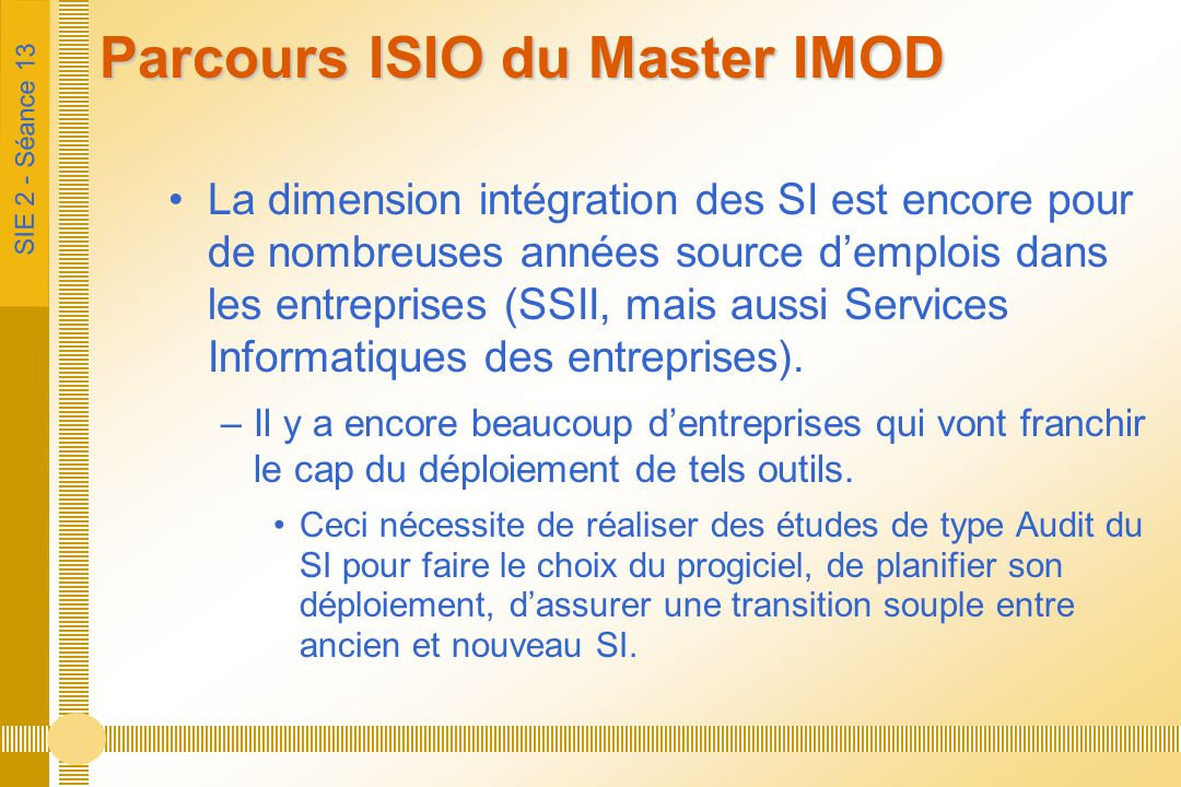 Parcours ISIO du Master IMOD