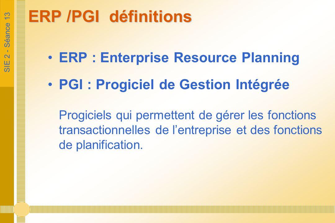 ERP /PGI définitions ERP : Enterprise Resource Planning