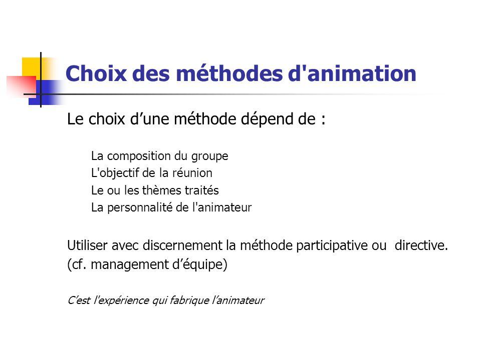 Choix des méthodes d animation