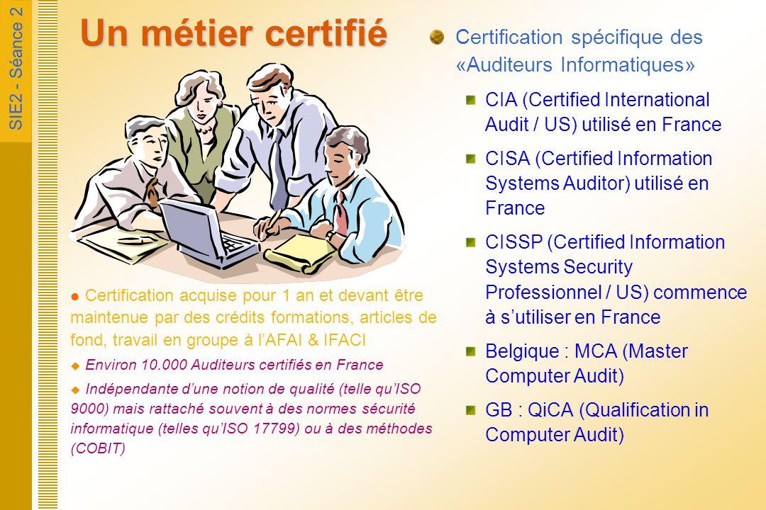 Un métier certifié Certification spécifique des «Auditeurs Informatiques» CIA (Certified International Audit / US) utilisé en France.