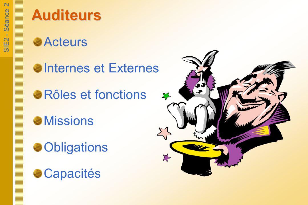Auditeurs Acteurs Internes et Externes Rôles et fonctions Missions