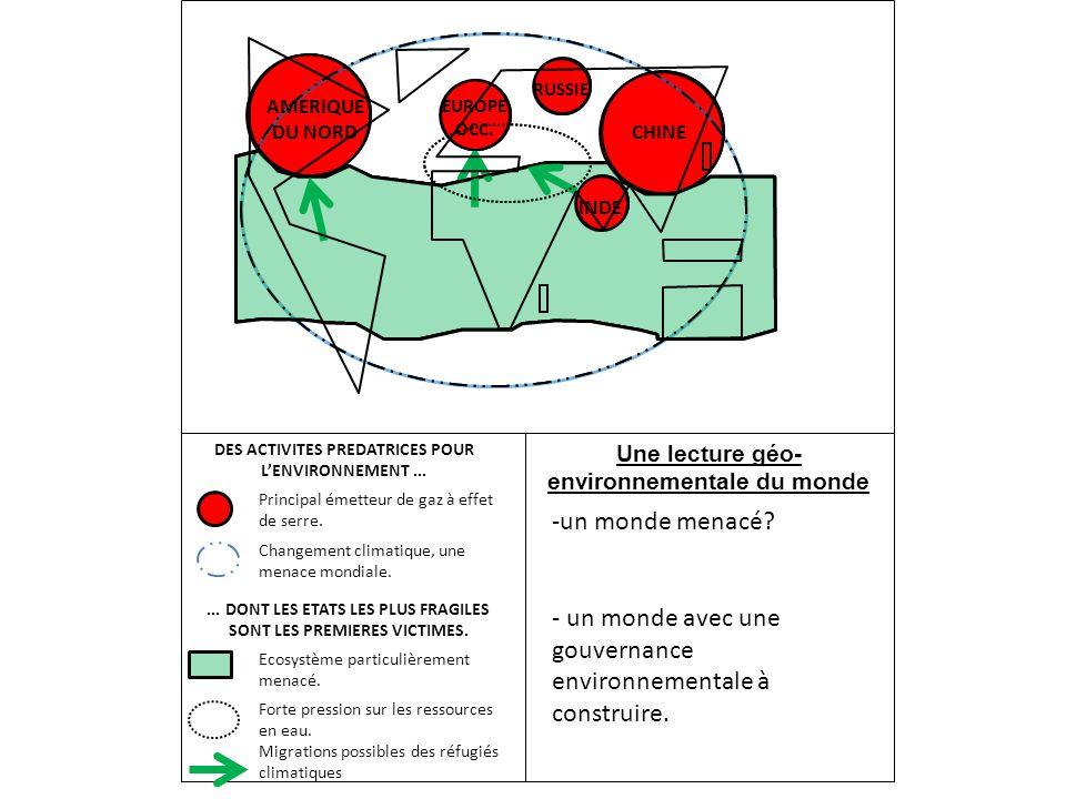 - un monde avec une gouvernance environnementale à construire.