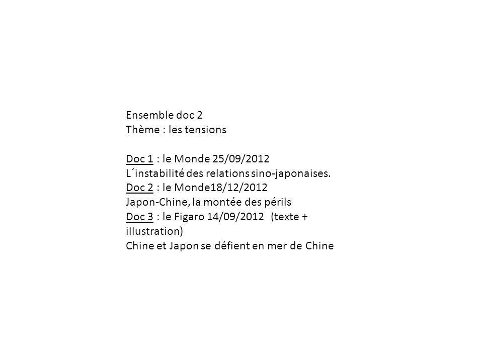Ensemble doc 2 Thème : les tensions Doc 1 : le Monde 25/09/2012