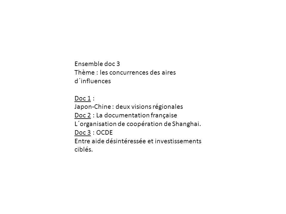 Ensemble doc 3 Thème : les concurrences des aires d´influences Doc 1 :