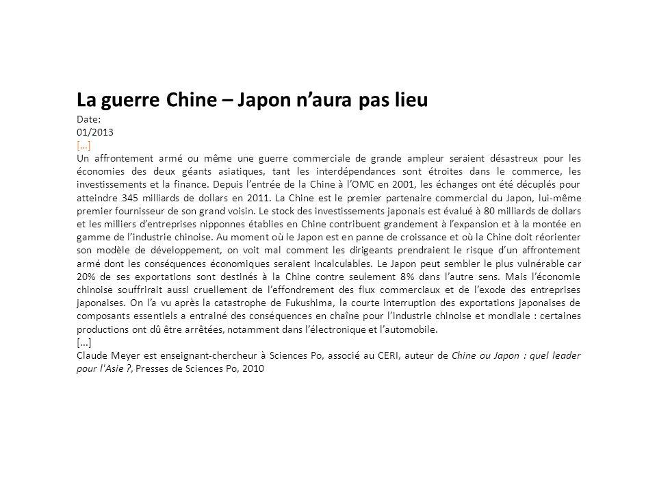 La guerre Chine – Japon n'aura pas lieu