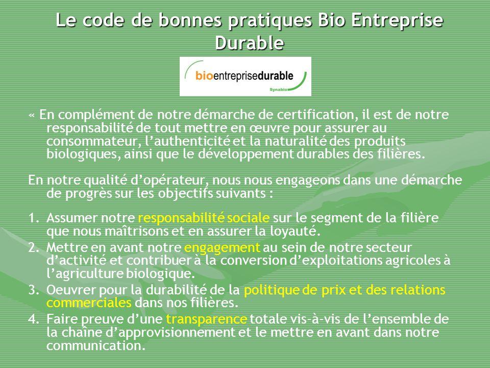Le code de bonnes pratiques Bio Entreprise Durable