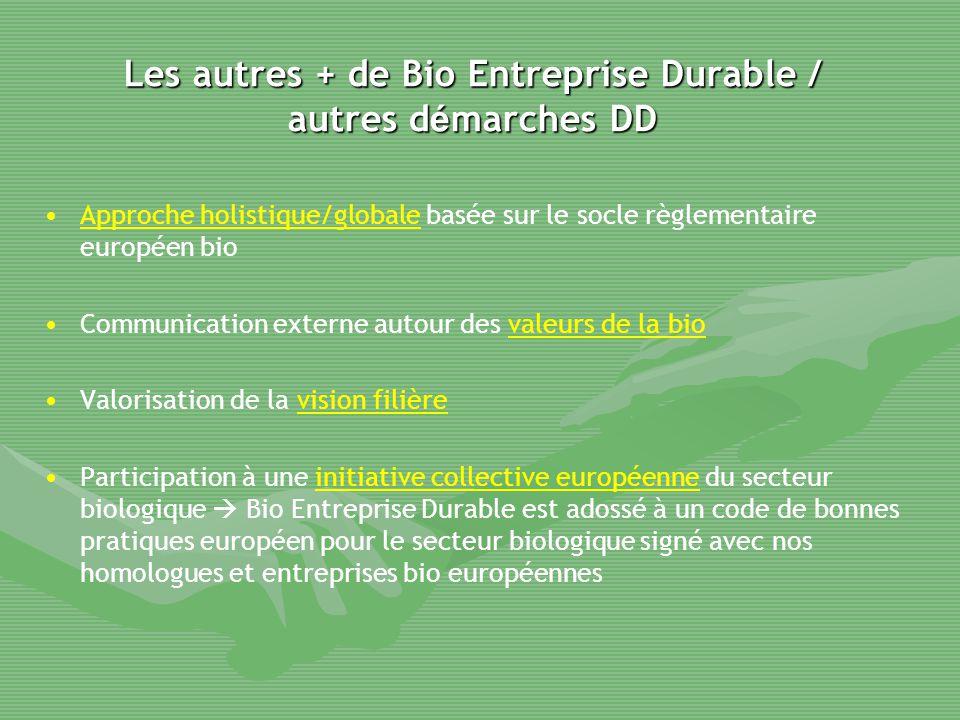 Les autres + de Bio Entreprise Durable / autres démarches DD