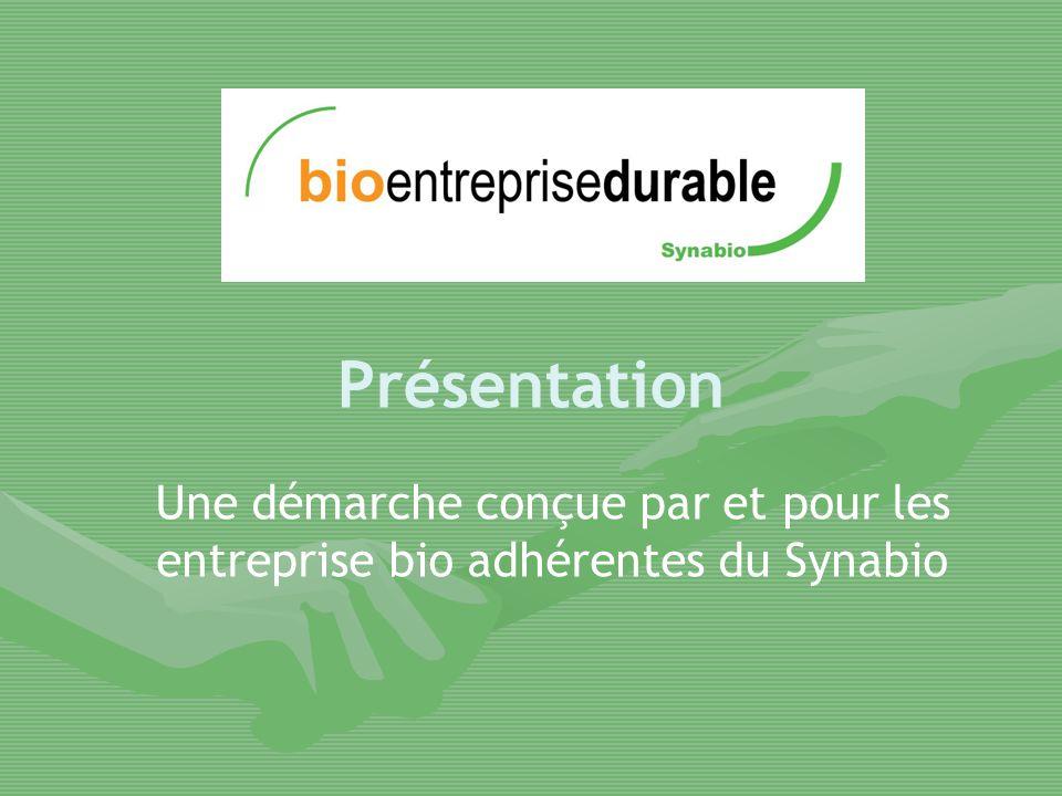 Présentation Une démarche conçue par et pour les entreprise bio adhérentes du Synabio