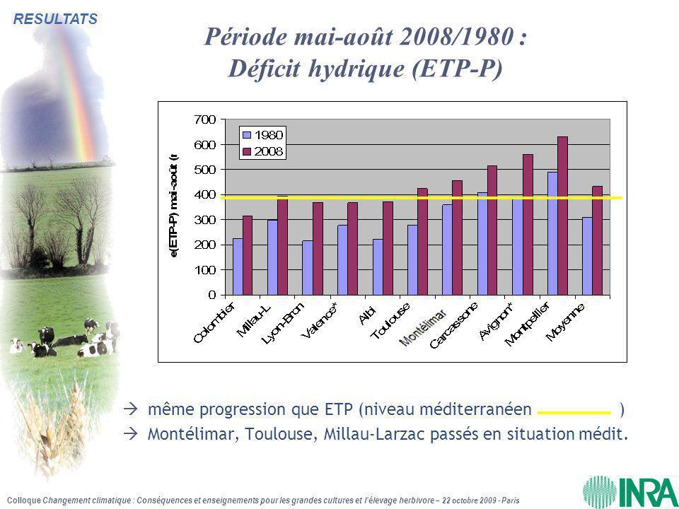 Période mai-août 2008/1980 : Déficit hydrique (ETP-P)