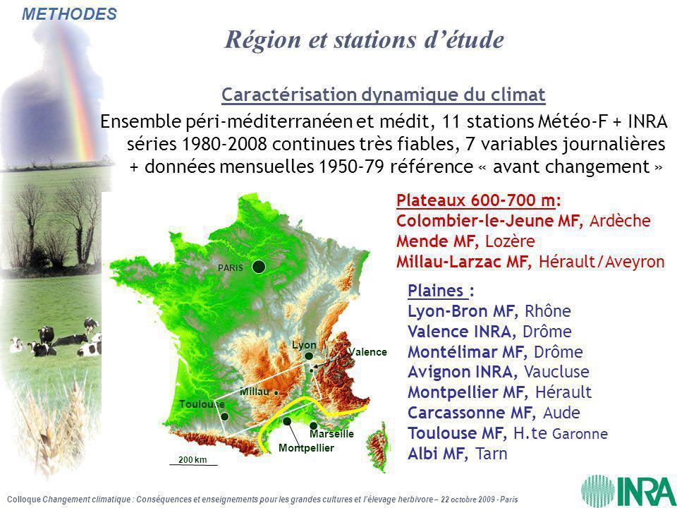 Région et stations d'étude
